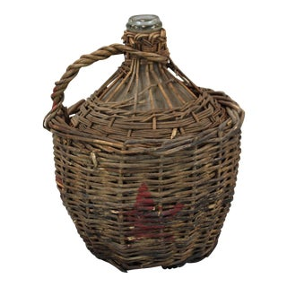 Vintage French Wine Bottle in Woven Basket