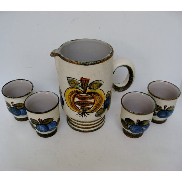 Vintage Hand Painted Italian Pitcher & Cup Set - Image 3 of 7
