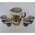 Image of Vintage Hand Painted Italian Pitcher & Cup Set