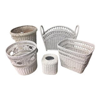 Vintage White Wicker Decor - 5 Piece Set