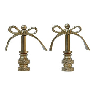 Solid Brass Bow Finials - a Pair