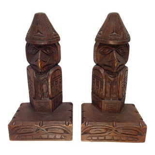 Vintage Hand Carved Eagle Totem Bookends - A Pair