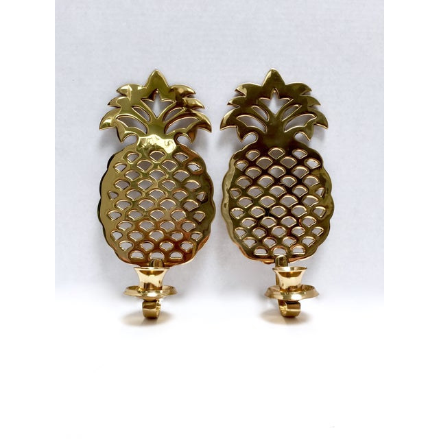 Brass Pineapple Candle Sconces - A Pair - Image 2 of 7