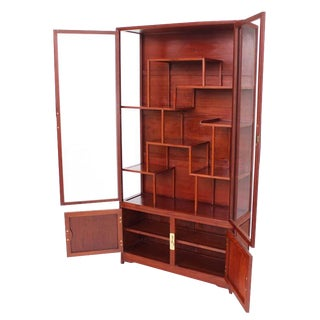Mid-Century Modern Oriental Display Cabinet with Brass Hardware