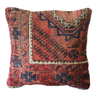 Vintage Hand-Knotted Wool Rug Pillow Cover