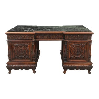 Antique Green Marble Top Partners Desk