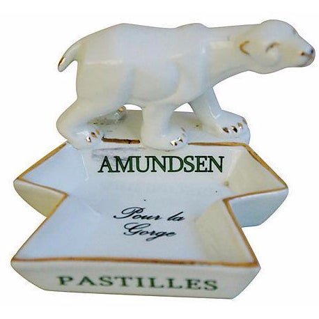 French Porcelain Amundsen Match Striker Ashtray - Image 1 of 7