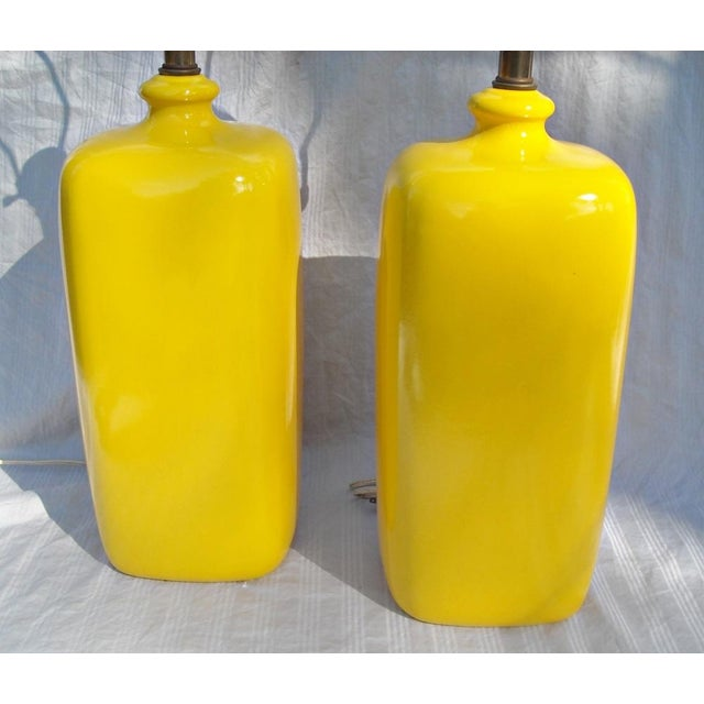 Image of Mid Century Modern Vibrant Yellow Lamps - Pair