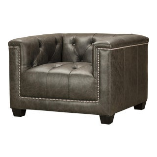 Spectra Home Modern Leather Tuxedo Chair With Silver Nailheads