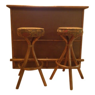 Vintage Tiki Rattan Bamboo Bar & 2 Stools