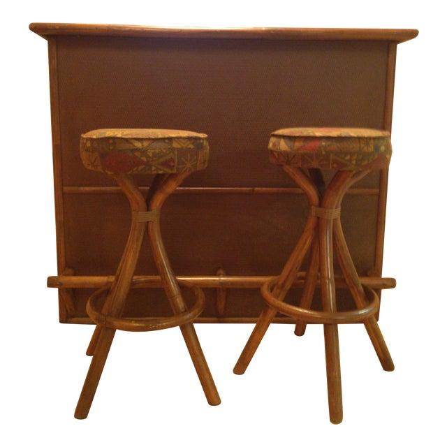 Image of Vintage Tiki Rattan Bamboo Bar & 2 Stools
