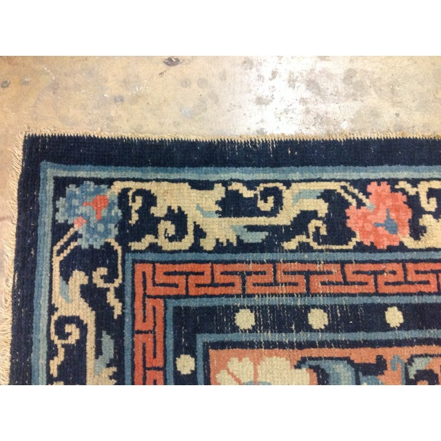 """Art Deco Navy & Coral Chinese Rug - 4'3"""" X 6'3"""" - Image 4 of 6"""