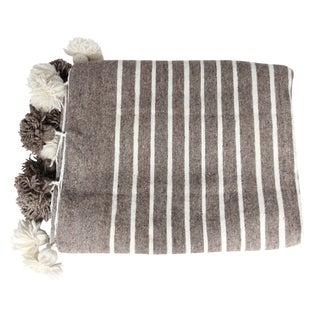 Brown Moroccan Pompom Blanket