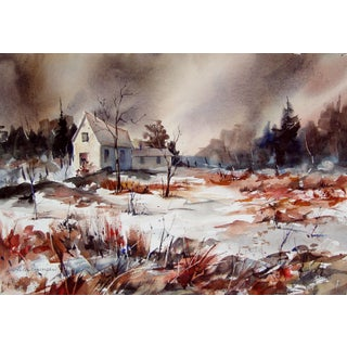 Storm at the Cabin Watercolor