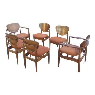 Danish Modern Finn Juhl Style John Stuart Teak Dining Chairs - Set of 6