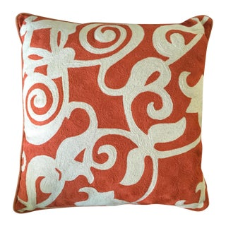 Orange & White Wool Pillow With Insert - a Pair