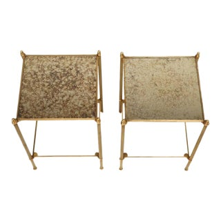 French Two-Tier Bronze End Tables - A Pair