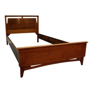 Mid-Century Danish Modern Parqueted Walnut Twin Size Bed Frame