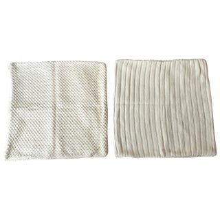 Ivory Cable Knit Pillow Covers - A Pair