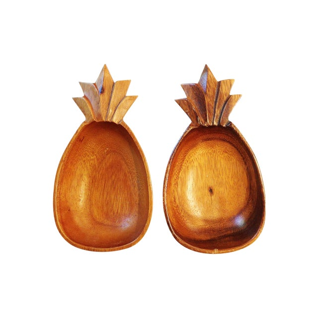 Image of Vintage Monkey Pod Wood Pineapple Bowls - A Pair