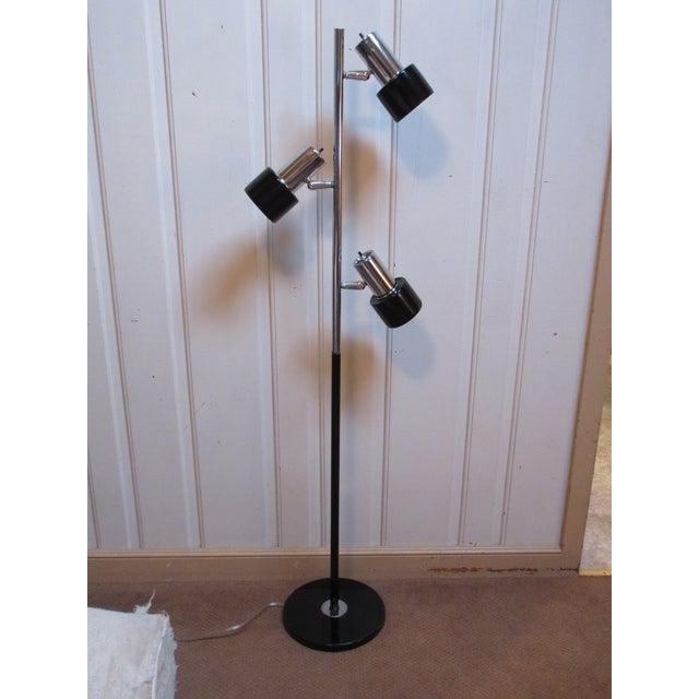 Modern Metal Floor Lamp: Mid-Century Modern Black Metal & Chrome Floor Lamp