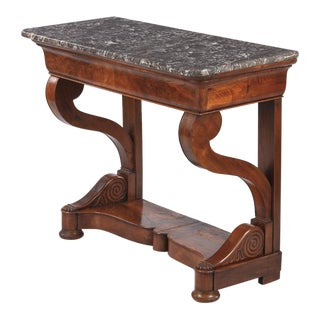 Restoration Period Mahogany Console Table with Marble Top, 1820s