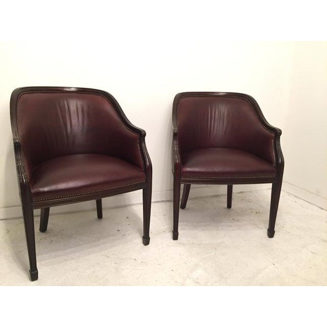 Smith And Watson Burgundy Leather Mahogany Hepplewhite Tub - Tub chairs leather