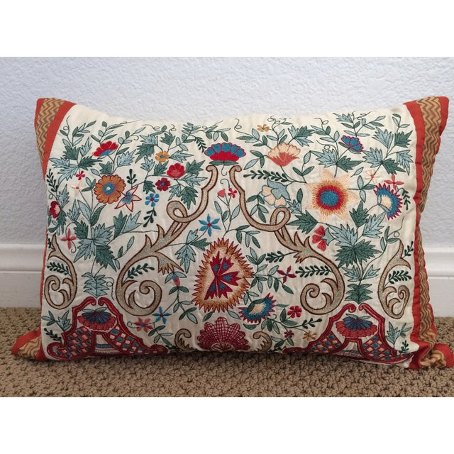 Luxury Silk Embroidered Decorative Pillow - Image 3 of 8