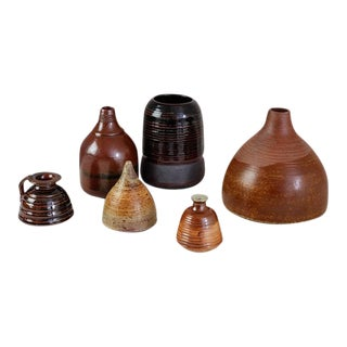 Franco Agnese Set of Six Brown to Black Ceramic Vases, France, 1960s