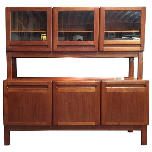 danish modern teak credenza with vitrine chairish. Black Bedroom Furniture Sets. Home Design Ideas