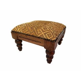 Kuba Cloth Wooden Footstool