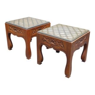 Drexel Mid-Century Modern Slate Carved Wood End Tables - A Pair