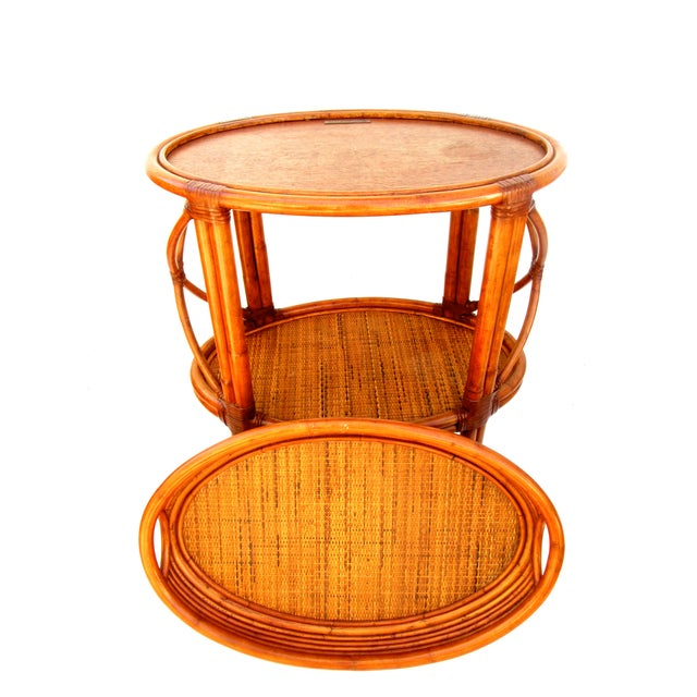 Image of Vintage Ethan Allen Bamboo Rattan Bar Cart