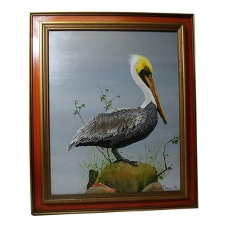 "1975 Lynn Chase ""Pelican"" Original Oil Painting"