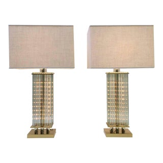 Pair of Brass and Glass Table Lamps by Lightolier