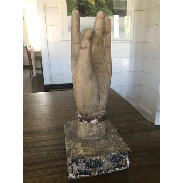 Shuni Mudra Position Carved Wooden Hands - a Pair - Image 3 of 6