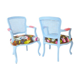 French Country Cane Back Chairs - Pair