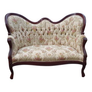 Vintage Victorian Floral Tufted Loveseat - Stunning Antique Tufted Ivory / White Settee