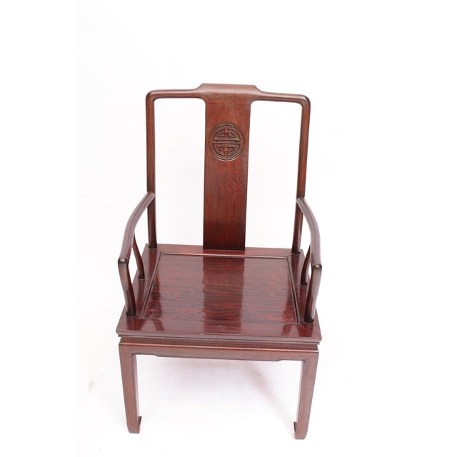 Ming-Style Rosewood Armchairs- A Pair - Image 5 of 5