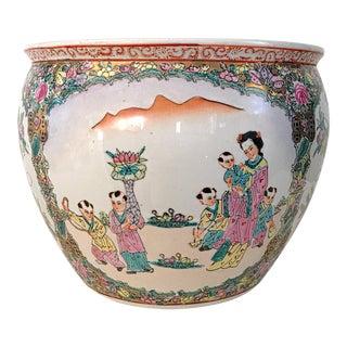 Vintage Chinese Famille Rose Fish Bowl Planter