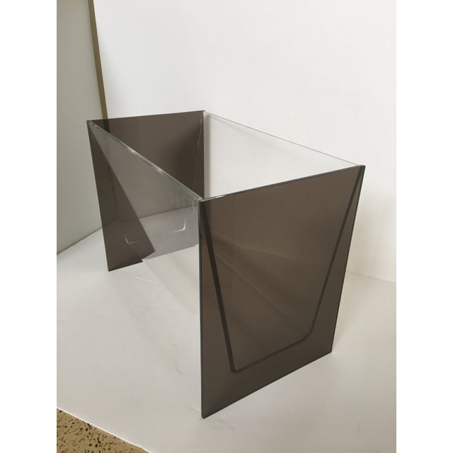 Clear & Smoky Grey Lucite Magazine Holder - Image 3 of 8