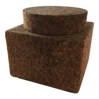 Vintage Mid-Century Cork Cube Ice Bucket