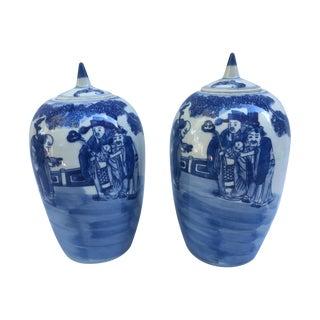 Blue & White Chinese Ginger Jars - Pair
