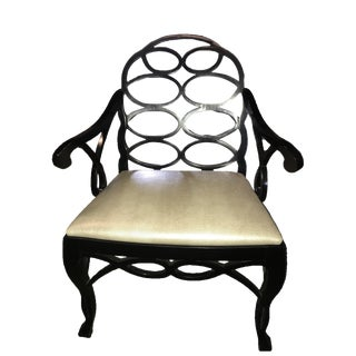 "Truex American Furniture ""Loop Arm Chair"" Silver Lizard Pressed Leather"