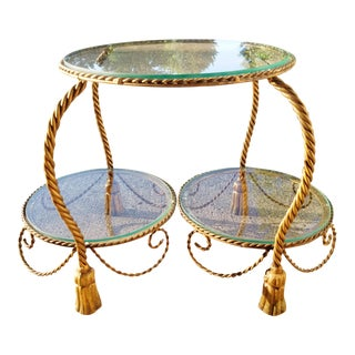 Hollywood Regency Style Italian Gilt Metal Rope & Tassel Coffee Table