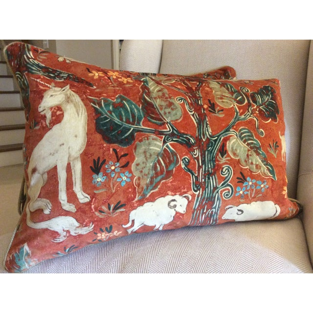 Melissa White Zoffany Arden Red Down Pillow - Pair - Image 2 of 6