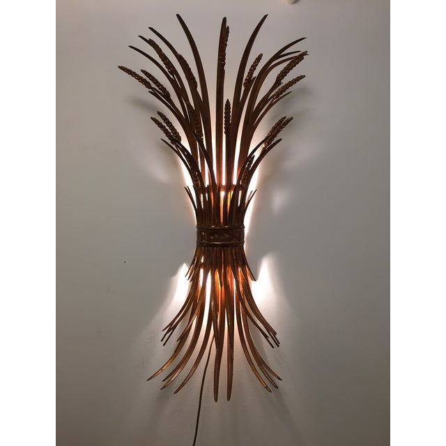 Vintage Gold Gilt Wheat Sheaf Wall Sconce - Image 7 of 7
