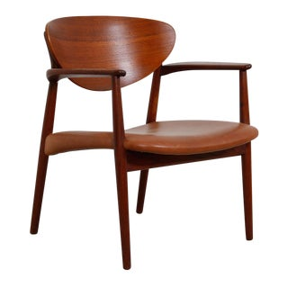 Georg Jensen Teak & Leather Shell Accent Arm Chair (1965)