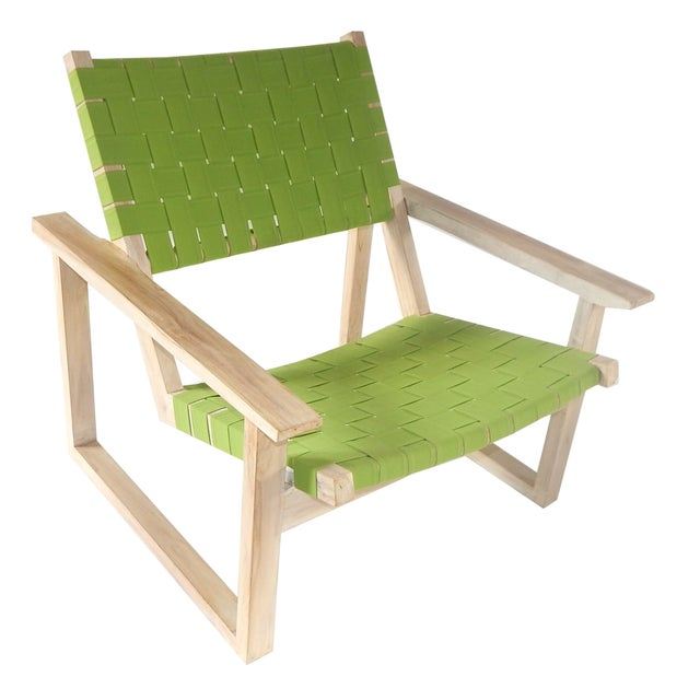 Green Sunbrella Leon Teak Lounge Chair - Image 1 of 3