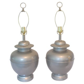 Vintage Silver Painted Ginger Jar Lamps -A Pair
